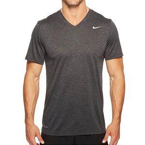 Nike   Gray Active Athletic Dri Fit V-Neck Shirt M